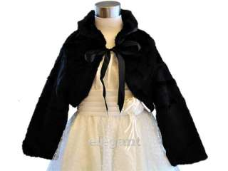 Black Girl Faux Fur Wedding Jacket Coat Size 2 8 Age 1 9