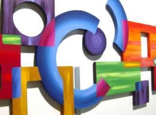 Contemporary Modern Abstract Geometric Wood with Metal Wall Sculpture