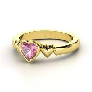 My Heart Beats for You Ring, Heart Pink Tourmaline 14K Yellow Gold