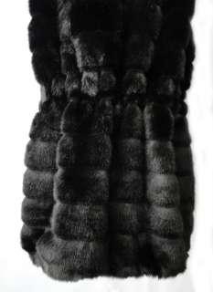 Mink Tiers Faux Fur Vintage Oversized Hooded Long Vest Coat