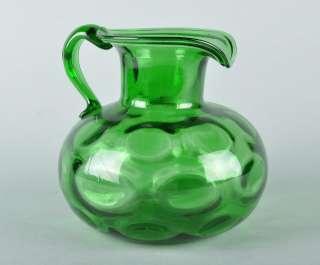 Vintage Emerald Green Mouth Blown Art Glass Pitcher