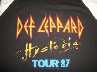 Def Leppard Vtg Concert Tour T Shirt 50 50% Poly Jersey L Hysteria