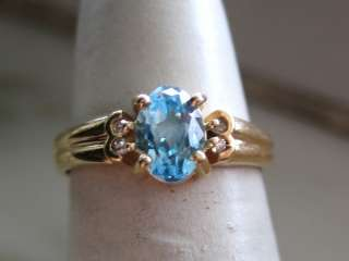 14 KT YELLOW GOLD BLUE TOPAZ & DIAMOND RING 33 35
