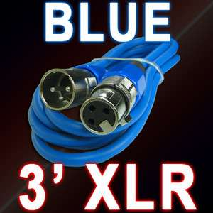 3pin ft foot BLUE XLR MALE TO FEMALE MIC MICROPHONE patch snake CABLE