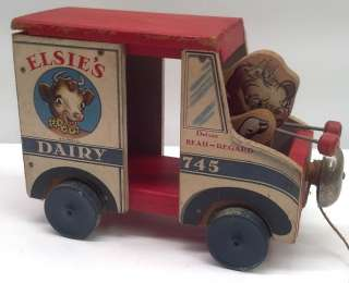 Pull Toy Elsies Dairy Delivery Truck No. 745 Bordens Milk