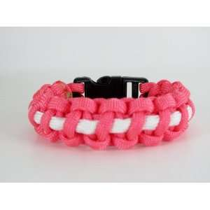 Pink and White Breast Cancer Awareness Paracord Bracelet 7
