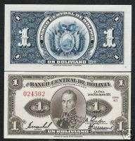 BOLIVIA 1B.P119 1928 BIRD HORSE SIMON BOLIVAR UNC NOTE