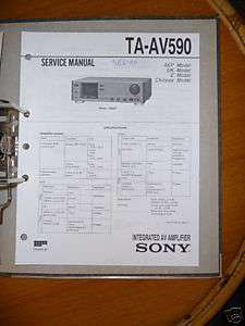 Service Manual Sony TA AV590 Amplifier, ORIGINAL