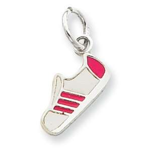 Sterling Silver Pink Enameled Sneaker Charm Jewelry