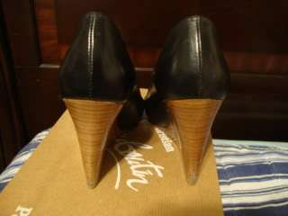 100% AUTH Christian Louboutin Miss Boxe black wedge heels shoes 35 5