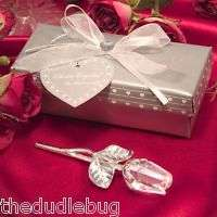 48 WEDDING FAVORS CRYSTAL LONG STEM ROSES IN GIFT BOXES