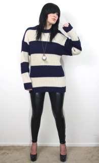 NAUTICAL STRIPED Navy + White DRAPED Chunky Wool Boyfriend Sweater OS