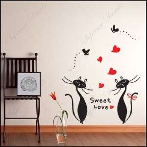 Sweet love of cats removable vinyl art wall decals home