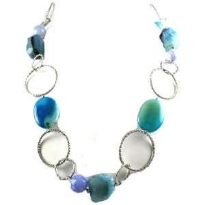 Designer Alex Carol Blue Agate Stone and Murano Glass Accent Large