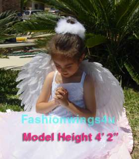 Childrens costume white feather angel wings pointing up or down Swan