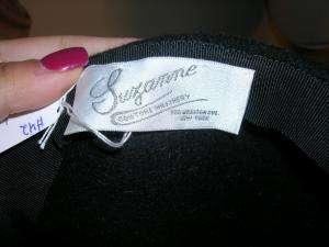SUZANNE black felt structured hat ADORABLE