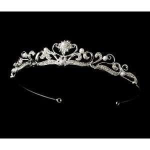 Silver Pearl Crystal Rhinestone Vine Bridal Tiara Jewelry