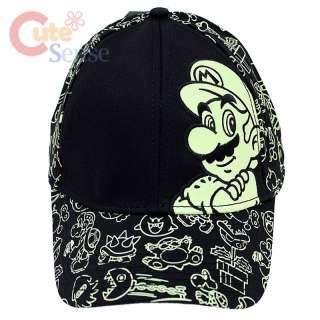 Nintendo Super Mario Glow in the Dark Cap / Flex Fit Hat  All