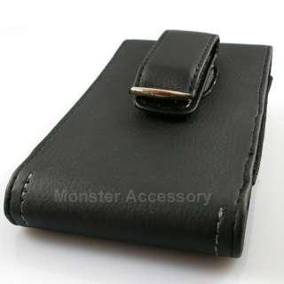 Eagle Black Leather Vertical Pouch Belt Clip Case Holster For HTC