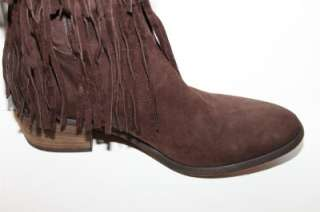 Western Couture Denise Brown Leather Fringe Boots 9.5m NWOB $495
