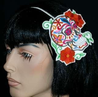 Sugar Skull Dia de los Muertos Dead Embroidery Headband