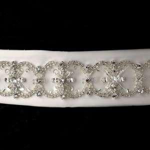 Crystals, Rhinestones & Bugle Beads Dress Sash Bridal Belt White or