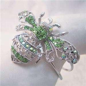 Green Swarovski Crystal Bumble Bee Honey Bracelet Cuff