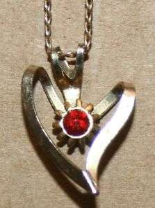 Vintage Red Rhinestone Heart Pendant Necklace Jewelry