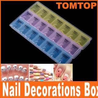 Plastic Nail Art Decorations Glitter Rhinestone Empty Storage Case Box
