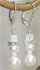 Crystal Rhinestone White Pearl Earrings Made With Swarovski Elements