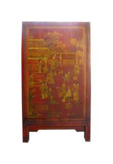 Chinese Red Gold Painted Leather Buffet Table Cabinet WK896