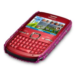 PINK LOVE HEARTS DIAMANTE BLING CASE COVER FOR NOKIA C3