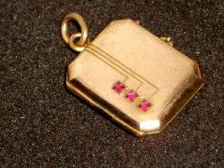 Antique Art Deco 9ct Rolled Gold Photo Locket Ruby Gem Set STUNNING NR