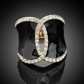14K Gold Plated Gold tone,Pave Swarovski Crystal Black Enamel Ring