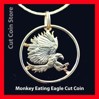 Eating Eagle Gold Plate Cut Coin Store Necklace Charm Jewelry