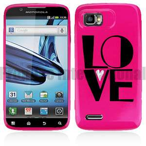 Hot Pink Love Hard Case Cover For Motorola Atrix 2 AT&T MB865