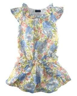 Ralph Lauren Childrenswear Girls Floral Chiffon Ruffle Dress Sz 4T
