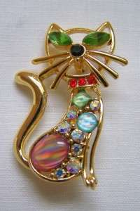 Vintage Delightful Large Kitty CAT Rhinestone Pin Brooch
