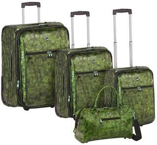 Heys Travel Concepts METALLIC CROCO Luggage Set GREEN 806126024308