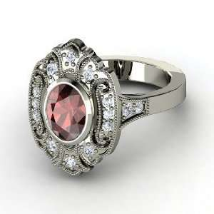 Chamonix Ring, Oval Red Garnet 14K White Gold Ring with