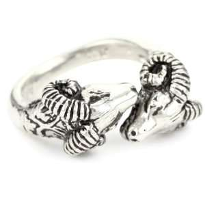 Ram Collection Sterling Double Headed Band Ring, Size 7: Jewelry
