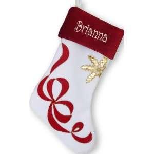Body/Red Cuff Ribbon Snowflake Christmas Stocking