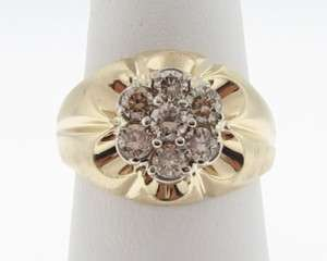 Estate 1ct Champagne Diamonds 14k Yellow Gold Ring