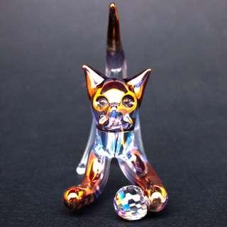Cat Figurine Blown Glass Kitten with Swarovski Crystal