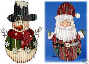 Tin Santa Snowman Standing Sign Christmas Yard Decor 23 NEW #X7375