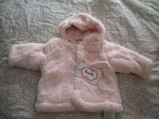 Newborn Pink Faux Fur Hooded Snow Jacket Baby Girl European Sz 56 NWT