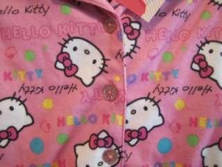 Girls 2 Piece HELLO KITTY Soft Pink Flannel Pajamas, Sz 4, 10