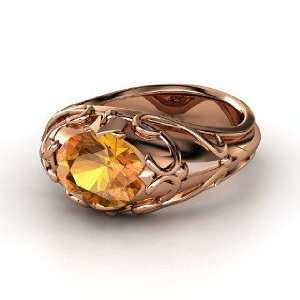 Hearts Crown Ring, Oval Citrine 14K Rose Gold Ring