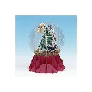 POP UP SNOW GLOBE CHRISTMAS CARD   SGS10   DOGS TRIMMING