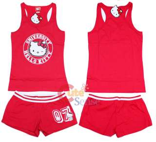 Sanrio Hello kitty Tank Top Pants Sleepwear  Red S  XL